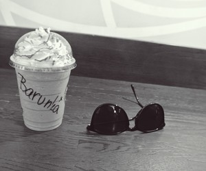 black and white, frappuccino, and praha image