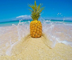 sand, beach, and pineapple image