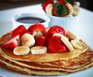 pancakes, strawberry, and banana image