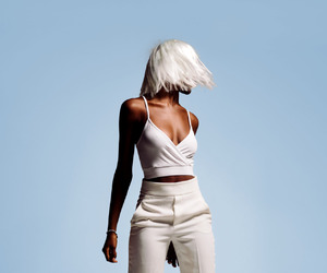 white, hair, and blue image