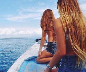 summer, hair, and sea image