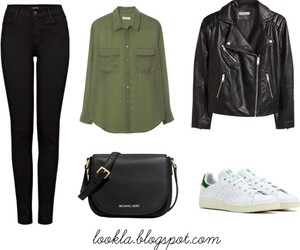 adidas, black jeans, and blouse image