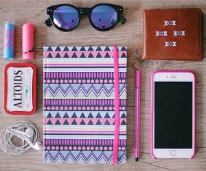 iphone, notebook, and pink image