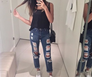 fashion, nike, and ripped jeans image