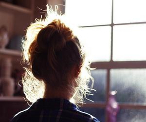 girl, hair, and window image