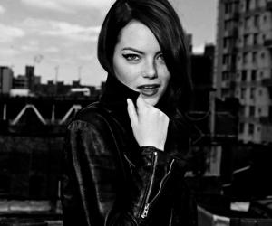 black and white, emma stone, and photoshoot image