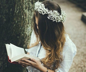 book, flowers, and forest image
