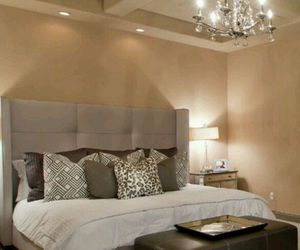 bed, bedrooms, and chandeliers image