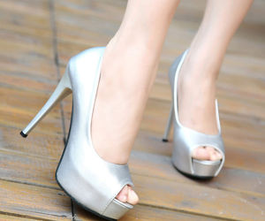 peep toe, wholesale shoes, and silver pumps image