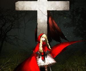anime, anime girl, and red riding hood image
