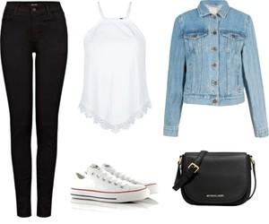 black jeans, converse, and denim jacket image
