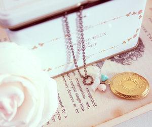 necklace, book, and vintage image