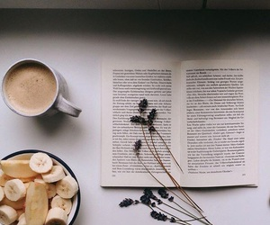 book, banana, and coffee image