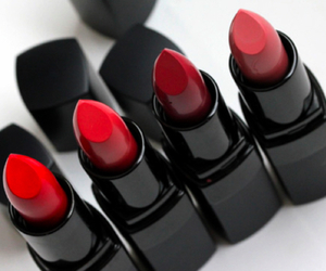 lipstick, red, and makeup image