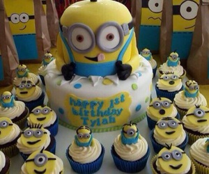 minions, birthday, and cake image