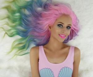 hair, mermaid, and pink image