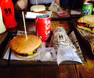 burger, cheeseburger, and coca cola image