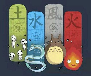 elements, my neighbour totoro, and spirited away image
