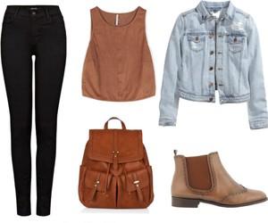 black jeans, boots, and denim jacket image