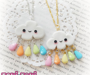 rain cloud, rainbow necklace, and cute kawaii necklace image