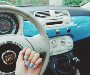 blue car, blue nails, and fiat image