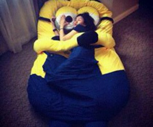 bed, girl, and minions image