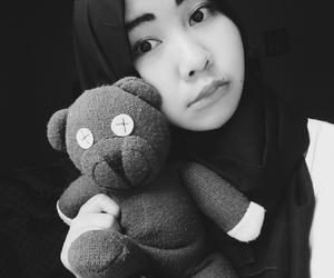 hijab, teddybear, and selfie image
