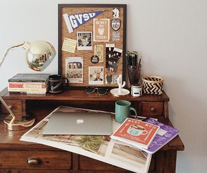 room, books, and vintage image