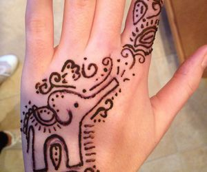 elephant, henna, and tattoo image