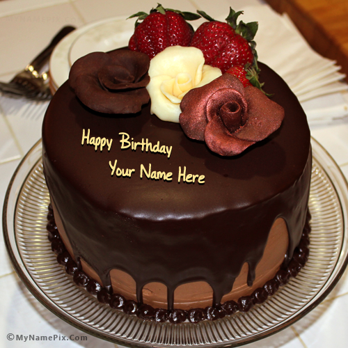 Prime Write Your Name On Chocolate Birthday Cake With Rose Picture Funny Birthday Cards Online Aeocydamsfinfo