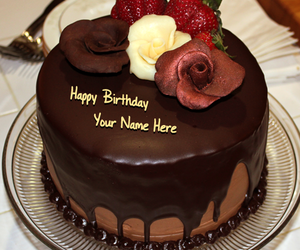 Chocolate Flower Cake And Name Birthday Image