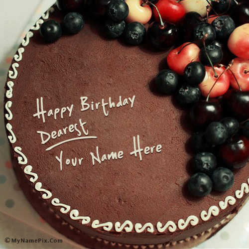 Fabulous Write Your Name On Chocolate Birthday Cake With Cherry Picture Funny Birthday Cards Online Bapapcheapnameinfo