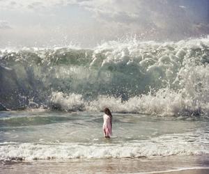 girl, waves, and sea image