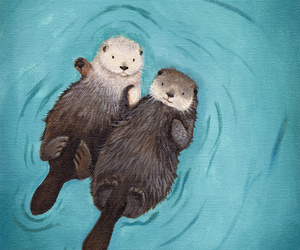 otter, cute, and art image