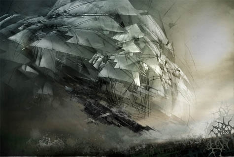 gothic, art, and air ship image
