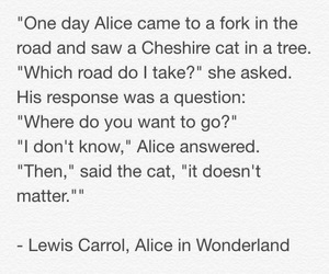 alice in wonderland, Cheshire cat, and crossroad image