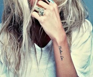 blond hair, girl, and tattooes image
