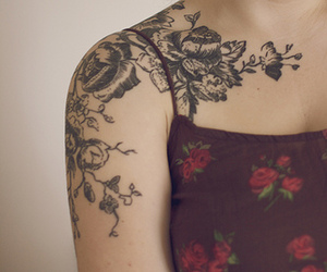 tattoo, flowers, and shoulder image