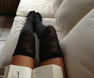 book, girl, and legs image