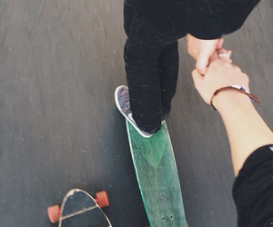 love, couple, and skateboard image