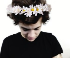 Harry Styles, one direction, and flowers image