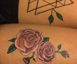 flowers, leg tattoo, and roses image