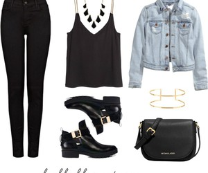 black jeans, blouse, and boots image