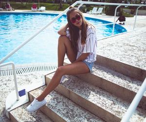 fashion, girl, and pool image