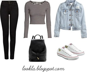 black jeans, converse, and denim jacket image