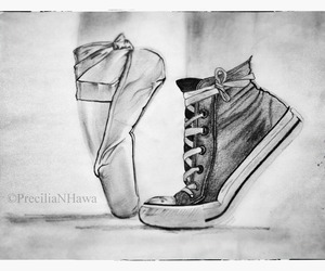 b&w, ballet, and converse image