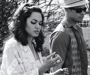 Angelina Jolie, brad pitt, and black and white image