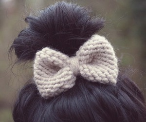 hair, bow, and bun image