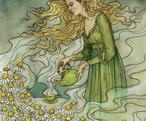 art, flower, and camomile image