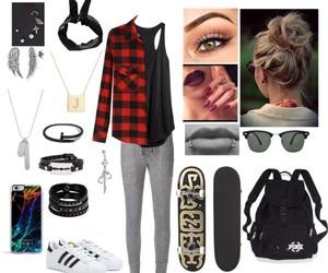 bun, blacktop, and flannel image